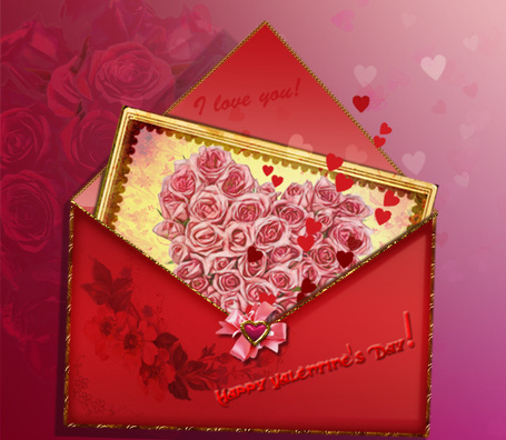Фото Открытый красный конверт, в котором лежит открытка с розовыми розами, Happy Valentines day / С Днем Святого Валентина, фотоарт IgnisFatuusII