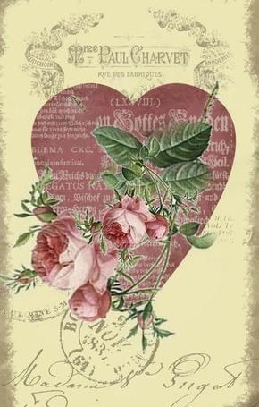 Фото Валентинка - открытка с сердечком и текстом с розами на фоне надписей в винтажном стиле (Paul Charvet)