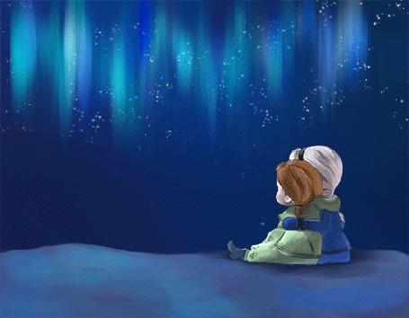 Фото Анна и Эльза смотрят на северное сияние в ночном небе, мультик Холодное сердце / Frozen