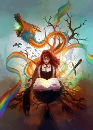 Фото Девушка раскрыла книгу, представляя себе драконов, деревья, птиц, кошку, радугу и мечи