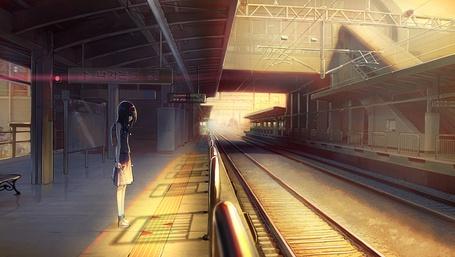 Фото Девушка на железнодорожной станции, art by maxpower (artist)