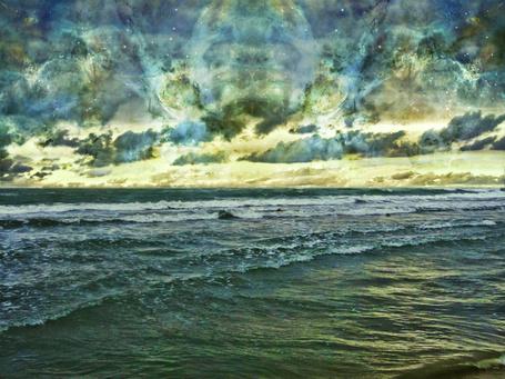 Фото Море на фоне космического неба, фотоарт IgnisFatuusII