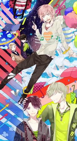 Фото Пять парней в абстракции космоса, звезд, сумок, зонтов, шариков, бумажных самолетиков, арт мангаки Kotoke