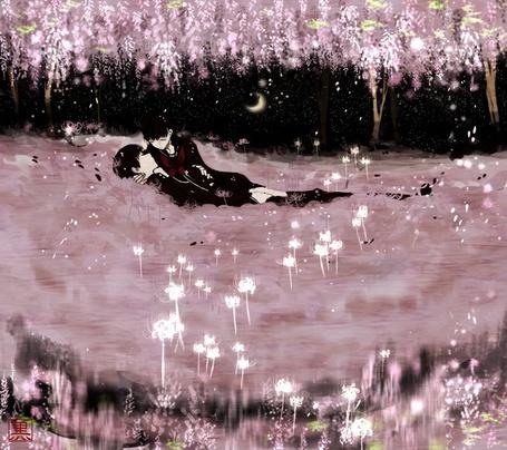 Фото Мужчина и девушка лежат ночью на земле среди цветущей сакуры, art by Kurohal422