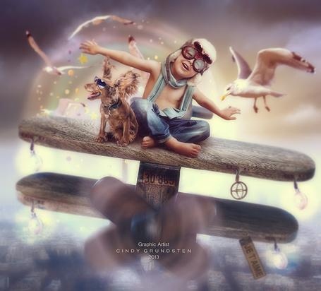 Фото Маленький мальчик и пес сидят на деревянном самолете, вокруг летают чайки, автор CindysArt