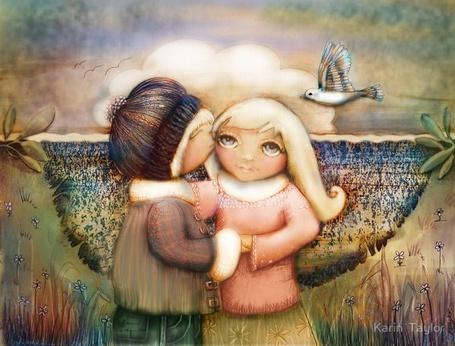 Фото Мальчик целует девочку, иллюстратор Кэрин Тэйлор