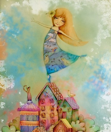 Фото Девочка стоит на крыше дома, рядом кошка и птичка тоже на крыше дома смотрят на нее, иллюстратор Кэрин Тэйлор