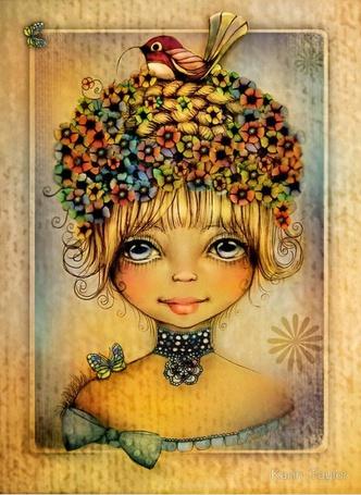 Фото Девочка с птицей на голове и бабочкой на плече, иллюстратор Karin Taylor
