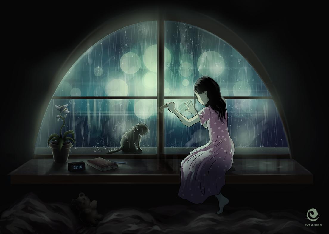 Простые, картинки девушка с кошкой у окна