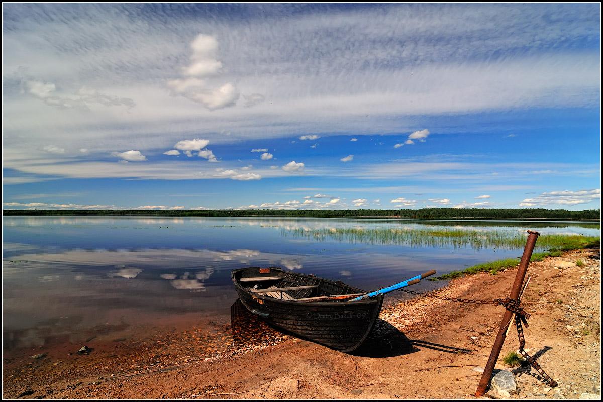 озеро берег лодка люди