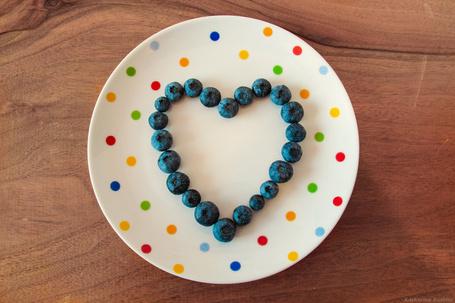 Фото Сердечко из ягод черники на тарелке в горошек