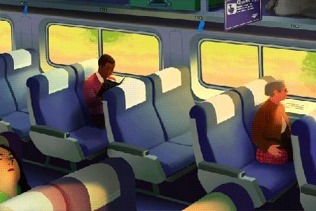 Фото Мужчина и женщины едут в поезде (© Seona), добавлено: 04.02.2014 10:30