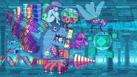 Фото В необычном транспортном средстве в виде динозавра, прикрепленному к платформе с ногами, едут девушка, щенки и мальчик, рядом летят роботы в виде стрекозы собаки и черепах