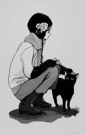 Фото Девушка гладит кошку