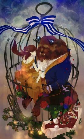 Фото Девушка и чудовище сидят в клетке, арт по сказке Beauty and the Beast / Красавица и Чудовище