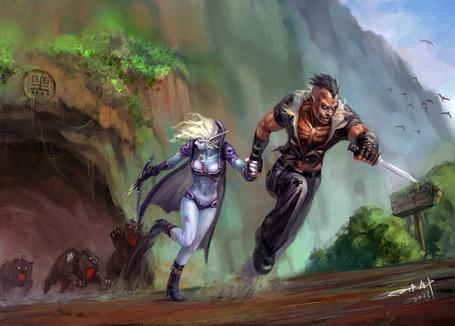 Фото Андед разбойник / Udead rouge и ночная эльфийка / Night elf взявшись за руки убегают прочь от пещеры, из которой выбегают разьяренные медведи, арт к игре World OF Warcraft