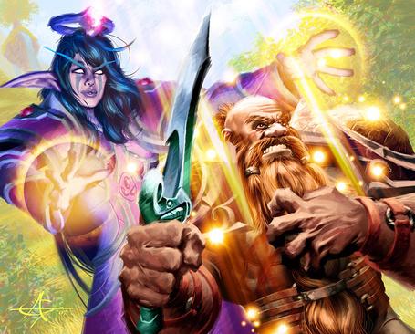 Фото Ночная эльфийка / Night elf и дворф / Dwarf с мечом в руке, арт к игре World of Warcraft