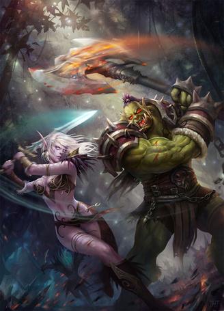 Фото Ночная эльфийка / Night elf сражается с орком / Orc, арт к игре World of Warcraft