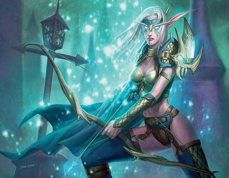Фото Ночная эльфийка-охотница / Night elf Hunter с луком в руках, арт к игре World of Warcraft