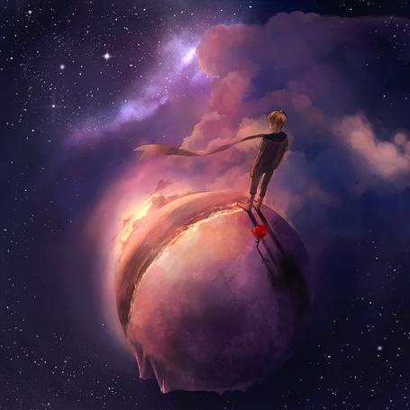 Фото Маленький принц из сказки Антуана де Сент-Экзюпери стоит рядом с розой на планете, art by Niken Anindita