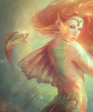 Фото Девушка-русалка рядом с которой плавает рыба, художница-иллюстратор Marta Nael