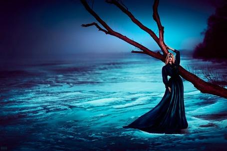 Фото Девушка в темно - синем платье стоит около дерева, фотограф Светлана Беляева