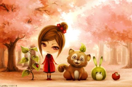 Фото Девочка и рядом с ней смешной енот, зайчик, надкусанное яблоко с одной стороны. а с другой растение с божьей коровкой на листе, автор LanWu