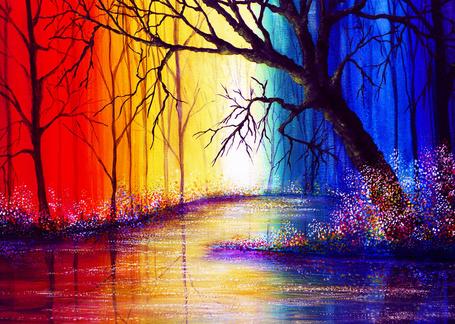 Фото Сказочная река вдоль деревьев, работа Vibrant Waters / бурлящая река, автор AnnMarieBone