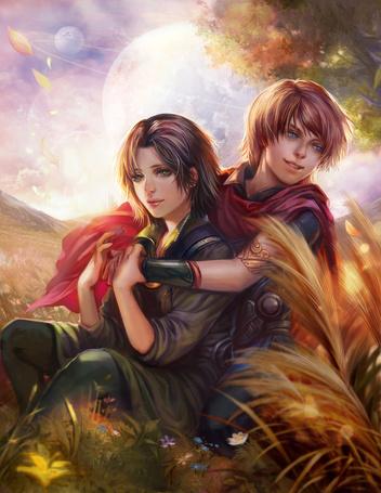Фото Мужчина с девушкой сидят на поляне в обнимку