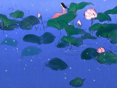 Фото Девушка сидит на листке лотоса, художник Soo Hyun