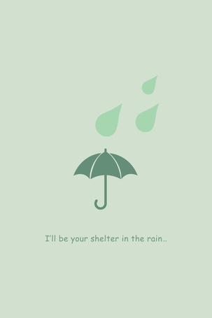 Фото На нежном зеленом фоне изображены капли дождя и зонтик (Ill be your shelter in the rain / Я буду вашим кровом в дождь)