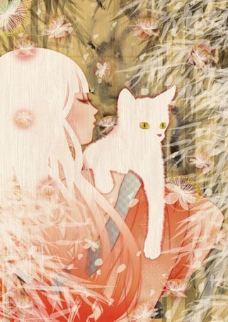 Фото Девушка с белым котенком