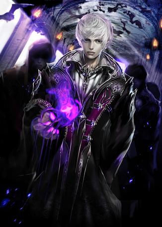 Фото Светловолосый парень с пламенем в руке, за которым следуют мужчины в темных мантиях, арт Jname