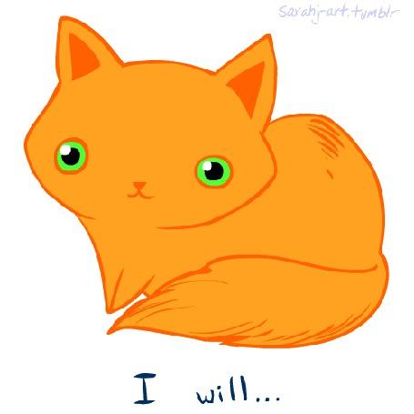 Фото Рыжая кошка с надписью I will / Я должен, после появляются ее большие зеленые глаза с огнем и надпись Destroy you! / Уничтожить тебя, автор sarahj
