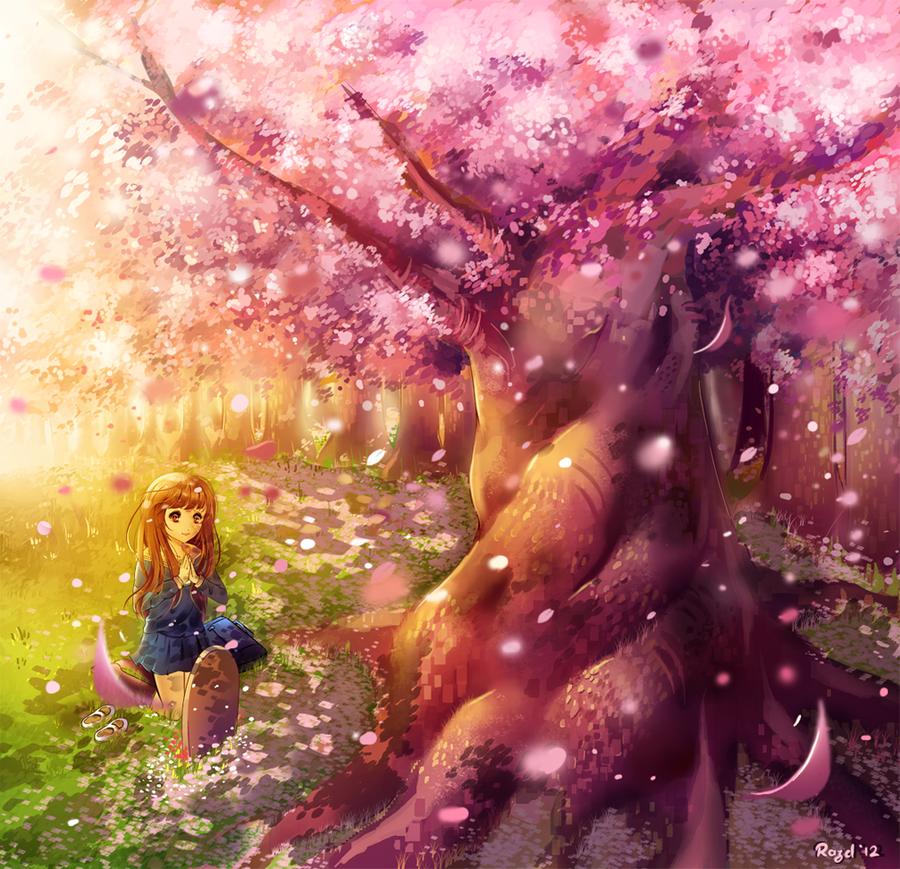 Аниме картинки девушка под деревом
