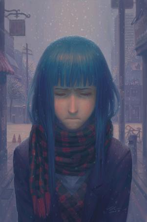 Фото Плачущая девушка под падающим снегом