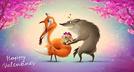 Фото Волк дарит лисе кролика с бантиком на голове (Happy Valentines / Счастливого дня Валентина)