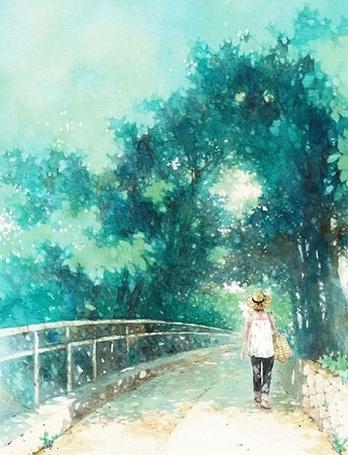Фото Девушка идет по дороге