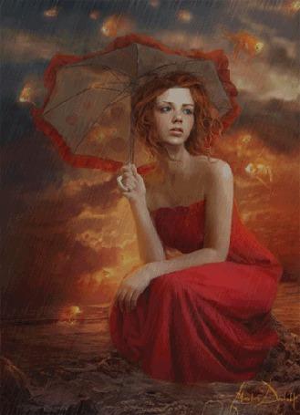 Фото Девушка в красном платье сидит на корточках в море, укрываясь зонтом от дождя, by Marta Dahlig