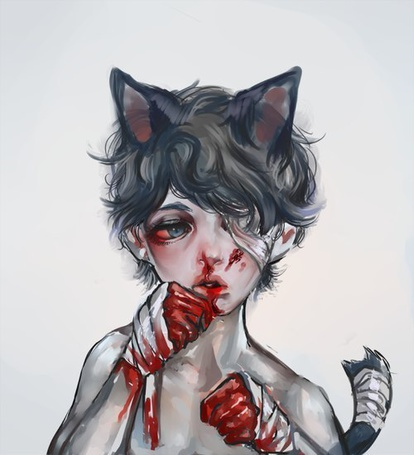 Фото Неко-мальчик с окровавленными руками и перебинтованным глазом вытирает губу от крови