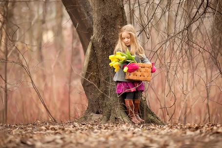 Фото Милая, белокурая девочка, стоящая у дерева, держащая в руках плетеную корзинку с лежащими в ней желтыми тюльпанами, автор Юлия Зарх