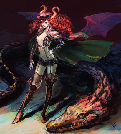 Фото Рыжеволосая девушка - демон и большой крокодил