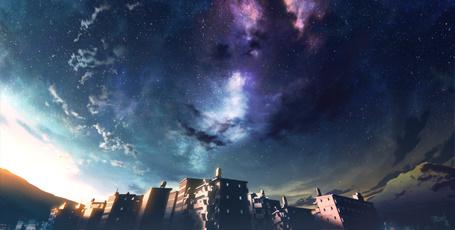 Фото Дома на фоне ночного неба, art by mocha (technoheart)