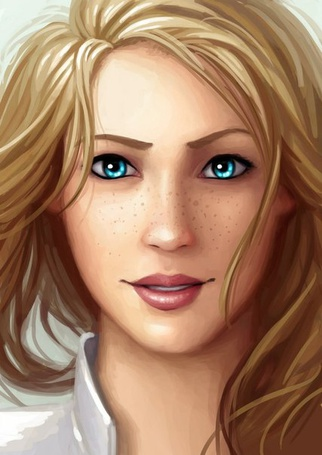 Фото Русая девушка с голубыми глазами и веснушками на лице