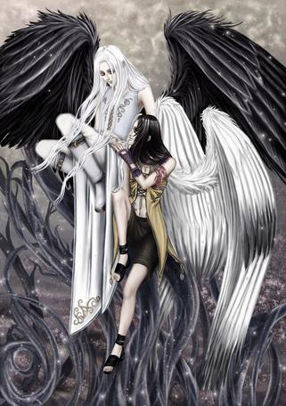 Фото Девушка - ангел с темными крыльями и парень - ангел со светлыми крыльями ведут беседу