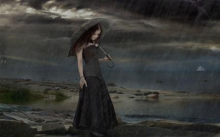 Фото Девушка с зонтом на фоне дождя
