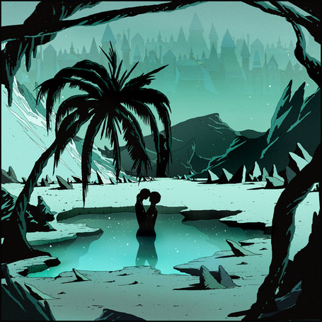 Фото Парень с девушкой в небольшом водоеме под пальмами, художник - иллюстратор Kilian Eng / Килиан Энг (© zmeiy), добавлено: 13.03.2014 17:11