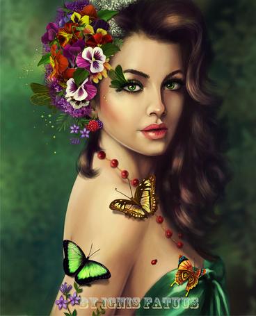 Фото Красивая девушка с венком из цветов на голове и бабочками на теле, работа от IgnisFatuusII
