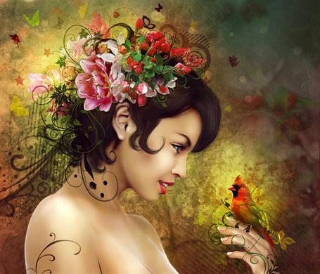 Фото Красивая девушка с цветами в волосах смотрит на птичку, сидящую на руке, работа от IgnisFatuusII