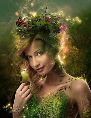 Фото Зеленая птичка сидит на руке девушки, одетой в весенний наряд из цветов, листьем и травы, работа от IgnisFatuusII